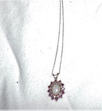 14 Kt Gold Opal, Ruby, and Diamond Chip Charm and Necklace