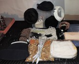 Lot of Vintage Woman's Hats, pocketbooks, Beads, and More