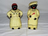 Vintage Salty and Peppy Large Ceramic Salt and Pepper Shakers