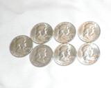 Lot of (7)  Silver Franklin Half Dollars