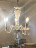 Vintage Glass 5 Arm Chandelier