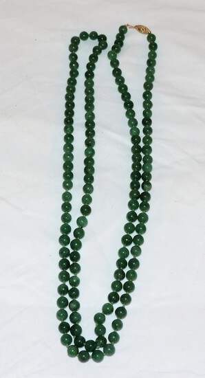 Jade Necklace with 14KT pinch clasp