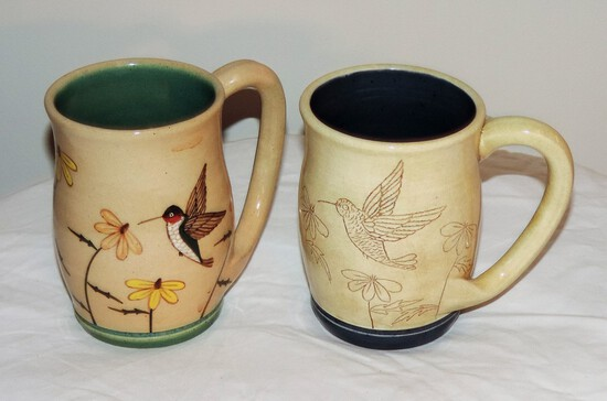 Pair of Winton Rosa Eugene Pottery Mugs