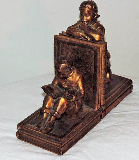 Hollow Casted Bronze Bookends Asian children