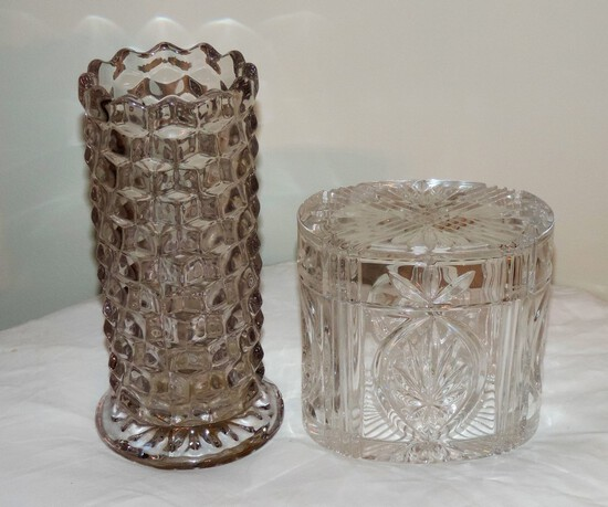 Lead crystal lidded box signed Wedgewood and Lead crystal vase