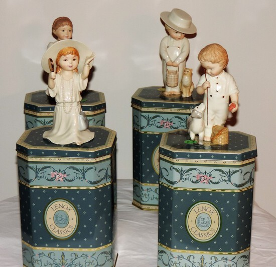 Lot of 4 Lenox Classics in decorative metal boxes
