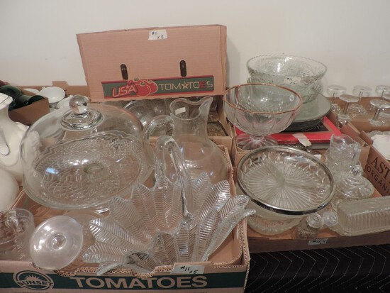 Lot of pressed and cut clear glass
