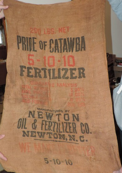 Antique Pride of Catawba Burlap fertilizer Sack