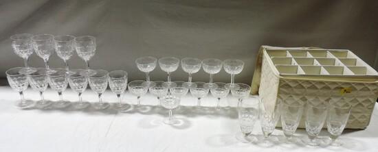 Nice Large Signed  Set Of Stuart England Crystal Stemware