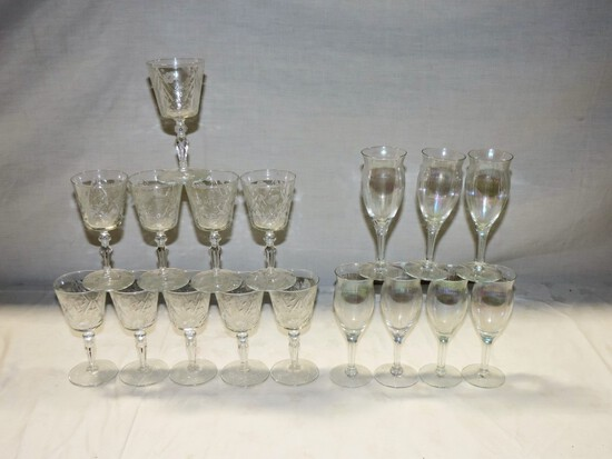 Etched Crystal Stemware Lot