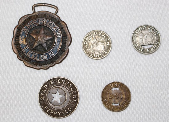 (4) Transportation Tokens and American Legion Medal