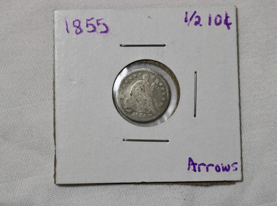 1855 Seated Liberty Half Dime