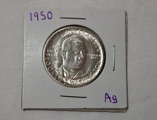 1950 uncirculated Booker T. Washington Silver Half Dollar Commerative