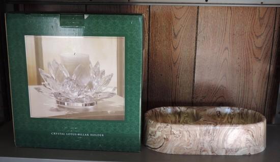 Crystal Lotus Pillar Candle Holder & Faux Marble Dog Bowl