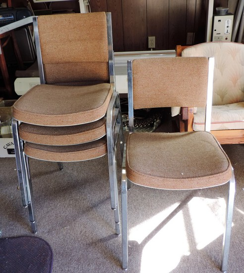 4 Chrome & Cloth Stacking Chairs