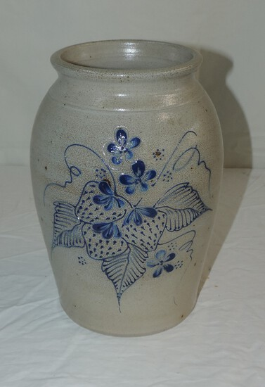 1999 Eldreth Pottery Blue and White  Strawberry Jar