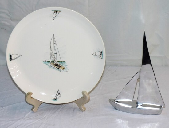 Neat Lot of (2) Sailboat Items
