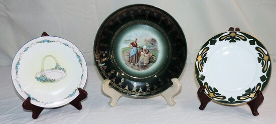 (3) Hand Painted German Plates