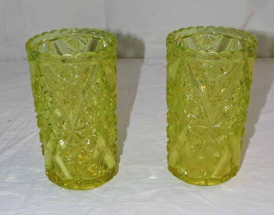 Pair of (2) Vaseline Glass Vases