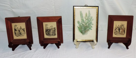 Lot of (4) Antique Framed Victorian Prints