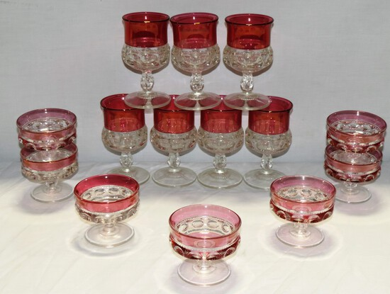 Lot Of Ruby Flashed Thumb Print Stemware