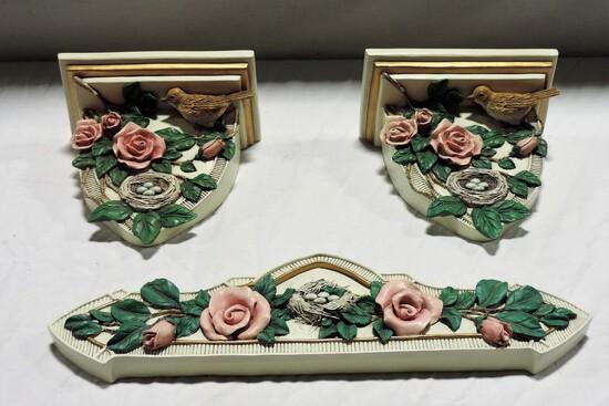 3-Piece Composition Rose Floral Design Shelves & Wall Plaque