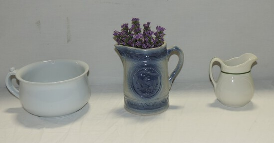 Blue & White Stoneware Cow Pitcher & Ironstone Pitcher & Slop Jar