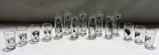 15-Piece Victorian Woman Decorated Glassware Set