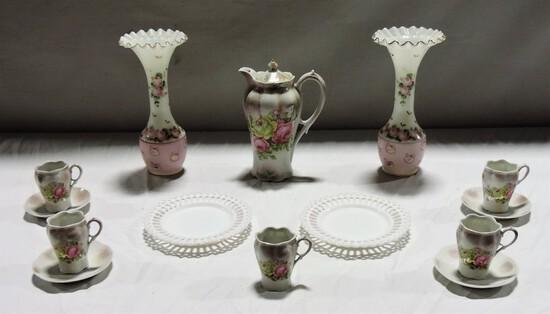 Chocolate Set, Milk Glass Vases & 2 Plates