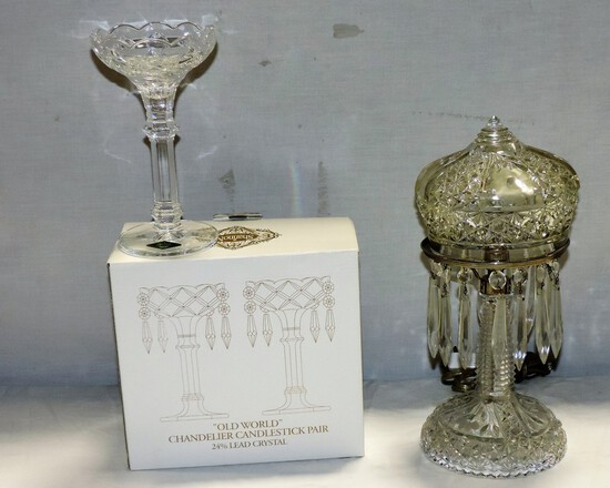 Boxed Set Of Lead Crystal Candleholders & Crystal Lamp