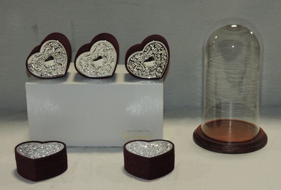 2 Glass Domes On Wood Bases & Heart-Shaped Gift Boxes