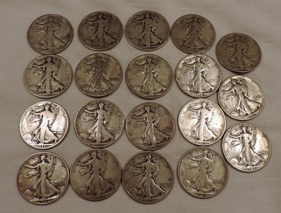(19) Walking Liberty Silver Half Dollars