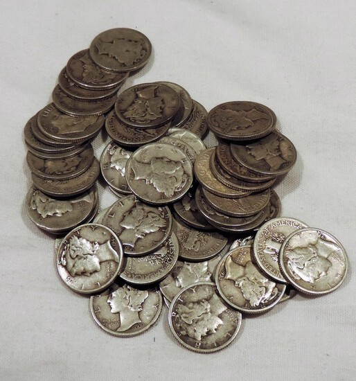 (50) Silver Mercury Dimes