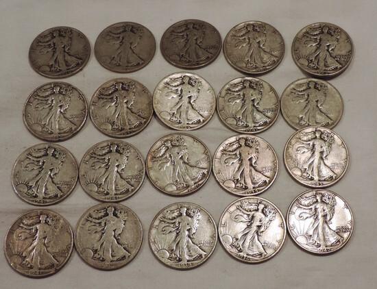 (20) Walking Liberty Silver Half Dollars