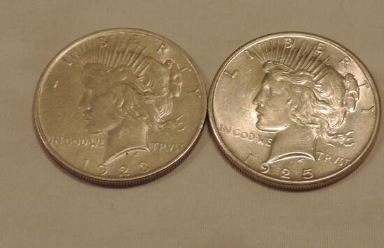 (2) Peace Silver Dollars