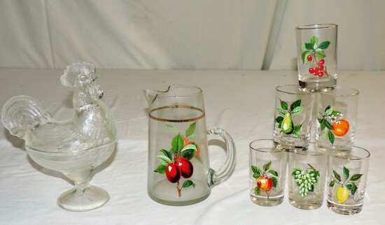 Fruit Juice Glass Pitcher Set And Covered Rooster Dish