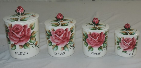 4 Pc. Ceramic Rose Design Canister Set