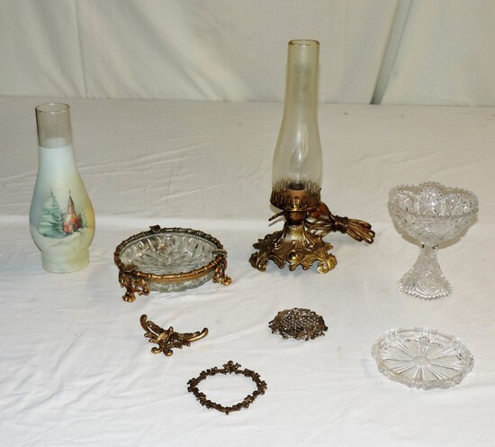 Electric Oil Type Lamp, Brass & Glass Ashtray, Cut Glass candy Dish