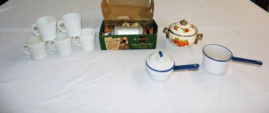 Set Of 6 Fire King Mugs, Enamel Broiler & Vintage Cake Decorator In Box