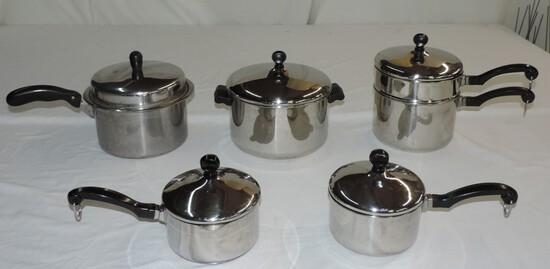 Set Of 5 Aluminum Clad Farberware Cookware