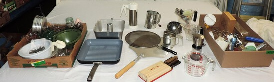 2 Trays Of Kitchen Utensils And More