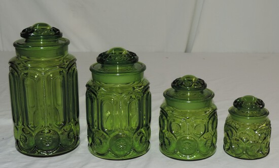 Set Of 4 Vintage Green Canisters With Lids