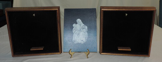2 Shadowbox Frames & Painting Of Christ