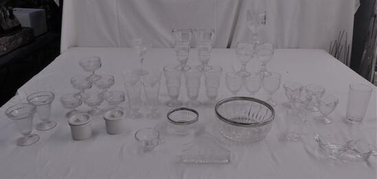 2 Tray Lots Crystal Glassware