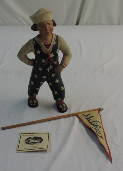 Original Carving By Leo Smith Of Patriotic Boy With Flag