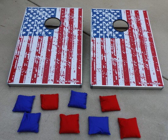 Go Sport Aluminum Fold Up American Flag Corn Hole Set