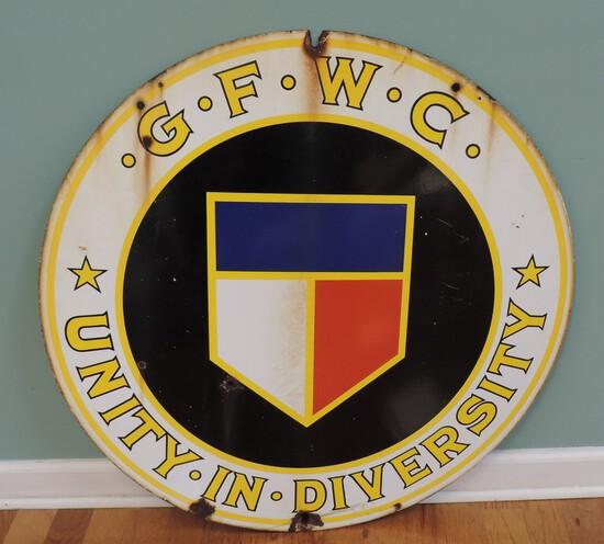 Antique Porcelain GFWC Unity and Diversity Round Sign