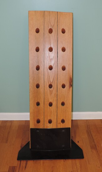Beautiful Hand-Made Hickory and Steel Wine Bottle Rack