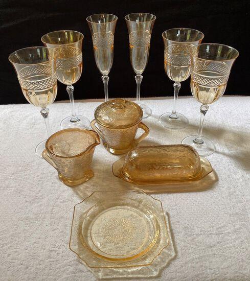 Lot of Gold Floreline Depression Glass and Gold Wine Goblets
