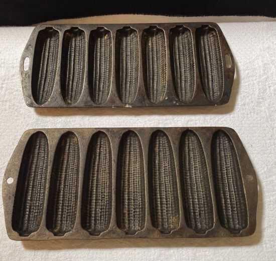 (2) Cast Iron Corn Bread Pans